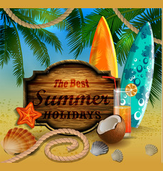 Beautiful beach view with wooden board vector