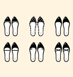 Black retro female shoes collection vector image vector image