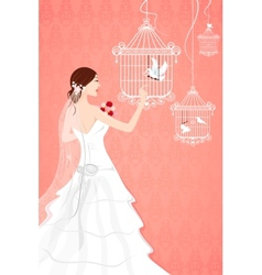 Bride with bird cage vector