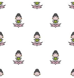cartoon meditating yoga girl seamless vector image vector image
