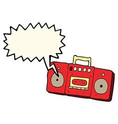 Cartoon radio cassette player with speech bubble vector