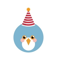 Cute blue bird with party hat vector