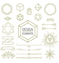 Design element set mono line art geometry symbol vector