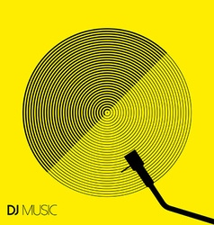 Dj music design geometry circle vinyl in line art vector
