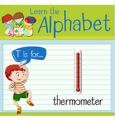 Flashcard letter T is for thermometer vector image