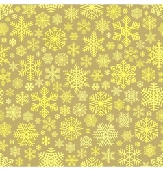 Golden Snowflakes Pattern on Beige Background vector image vector image