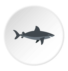 grey shark fish icon circle vector image