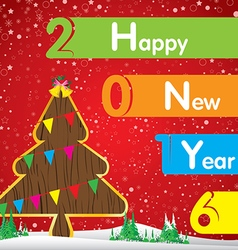 Happy New Year and Christmas tree on red vector image vector image