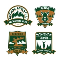 Hunting club emblem icons vector