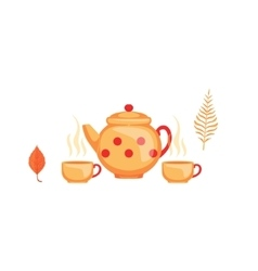 Kettle and twoo cups of tea as autumn attribute vector