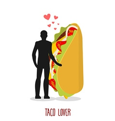 Lover taco love to mexican food man and fastfood vector