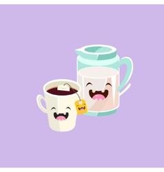 Milk and tea cartoon friends vector