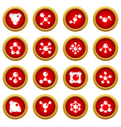 molecule icon red circle set vector image vector image