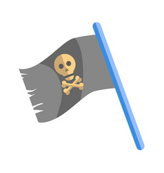 Old shabby black pirates flag with skull on blue vector