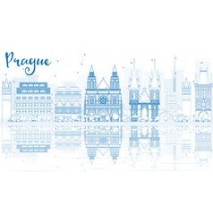 Outline prague skyline with blue buildings vector