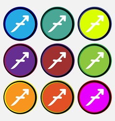 Sagittarius icon sign nine multi colored round vector