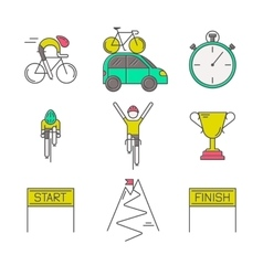 Set of 9 bicycle race modern colorful icons vector