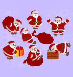 set of funny christmas santa claus with gifts vector image