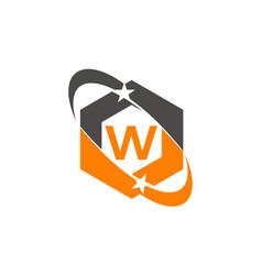 Star swoosh letter w vector