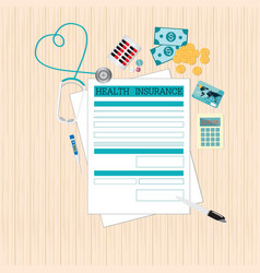 top view of health insurance form life planning vector image