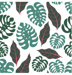 Tropical leaves seamless pattern vector