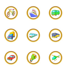 Urban vehicle icons set cartoon style vector
