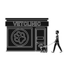 Visiting the vet clinic the petdog on a leash vector