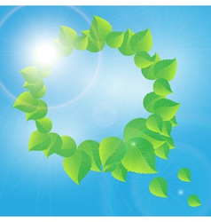 Wreath of green leaves on a sunny sky background vector