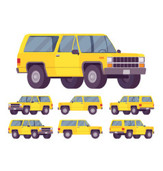 Yellow offroad set vector