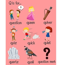 Many words begin with letter q vector