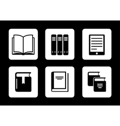book icons on black background vector image