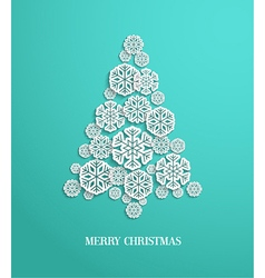 Christmas tree made of paper snowflakes vector
