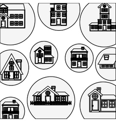 Silhouette pattern with houses logo design vector