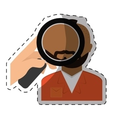 Magnifying glass on prisoner criminal vector