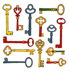 collection of hand drawn retro keys vector image