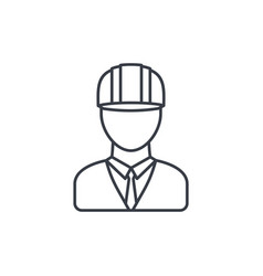 Engineer avatar architect in helmet thin line vector