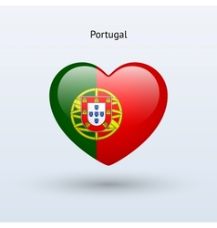 Love portugal symbol heart flag icon vector