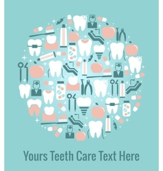 Dental care graphics arranged in circular pattern vector