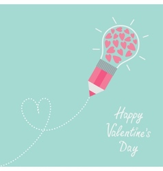 Pencil with light bulb and hearts inside dash line vector