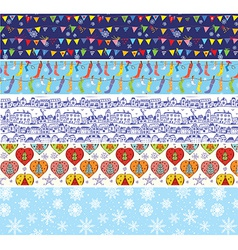 Christmas banners set with pattern of snow vector