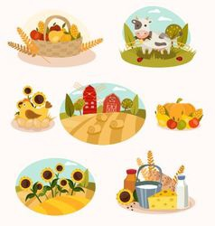 Eco farm flat icons vector