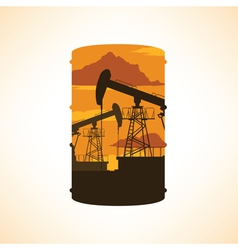 Oil barrel silhouette double exposure effect vector