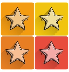 Set of drawn star icon vector