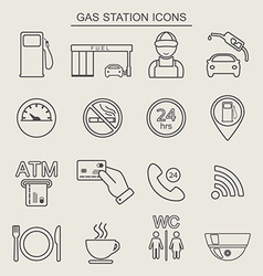 16 fuel station line icons monochrome color vector