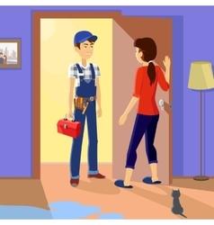 Housewife Meets Master Repairman vector image