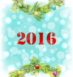 New year shiny background with wreath and colorful vector