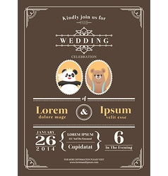 Cute vintage wedding invitation design template vector