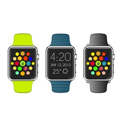 Trendy colorful icon of aluminium smart watch with vector
