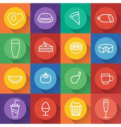 Food and drink line craft icons set in flat design vector