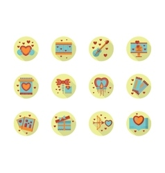 Romantic event flat color round icons vector
